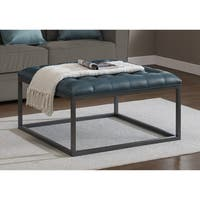 Strick & Bolton Healy Teal Leather Tufted Ottoman