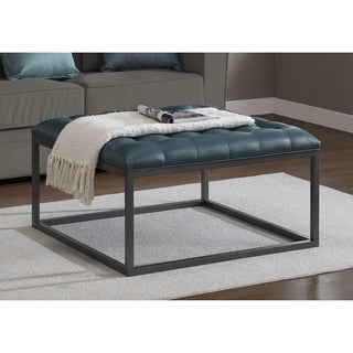 Carbon Loft Healy Teal Leather Tufted Ottoman