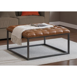 Good Healy Saddle Brown Leather Tufted Ottoman