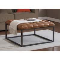 Healy Saddle Brown Leather Tufted Ottoman