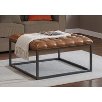 Carbon Loft Healy Saddle Brown Leather Tufted Ottoman