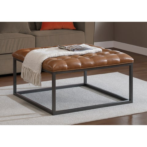 Jasper Laine Healy Saddle Brown Leather Tufted Ottoman