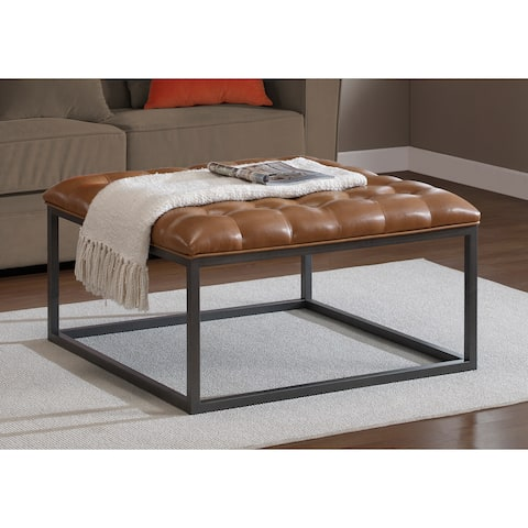 Strick & Bolton Healy Saddle Brown Leather Tufted Ottoman
