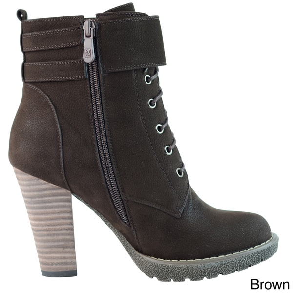 DimeCity Women's 'Breve' Stacked Heel Lace-up Ankle Boots - Free ...