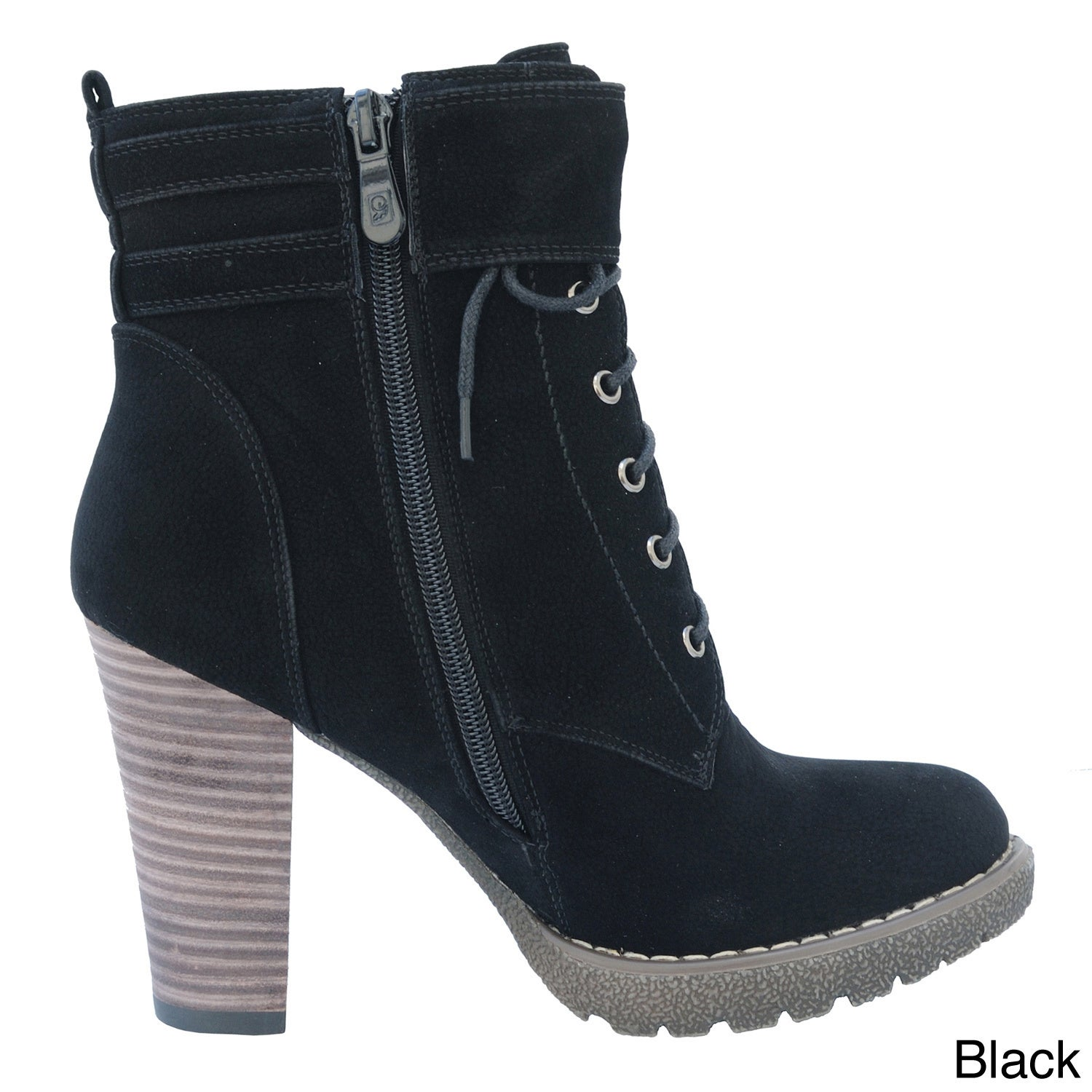 DimeCity Women's 'Breve' Stacked Heel Lace-up Ankle Boots...