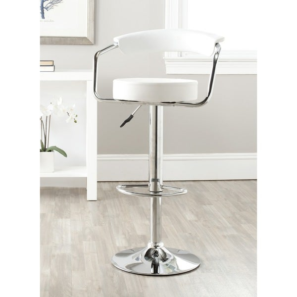 Shop Safavieh Angus White Adjustable 25 32 Inch Swivel Bar Stool