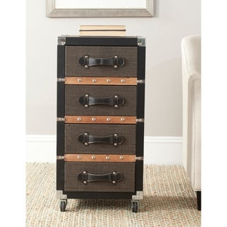 Safavieh Brent Storage Brown 4-Drawer Rolling Chest