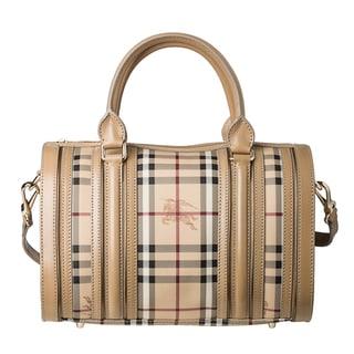 Burberry 'Haymarket Check' Medium Metallic Detail Bowler Bag