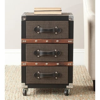 Safavieh Lewis Storage Brown 3-Drawer Rolling Chest