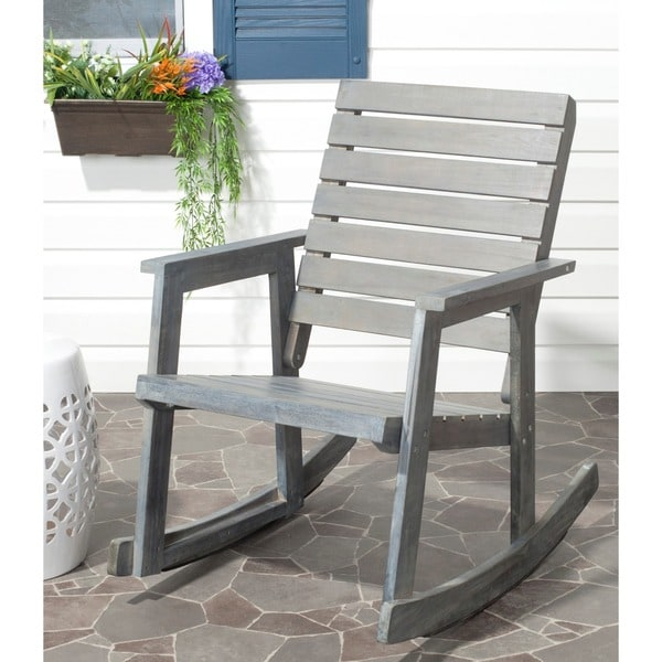 Shop Safavieh Outdoor Alexei Brown Rocking Chair Free