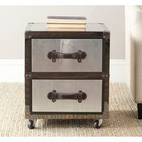 Safavieh Gage Silver 2-Drawer Rolling Chest