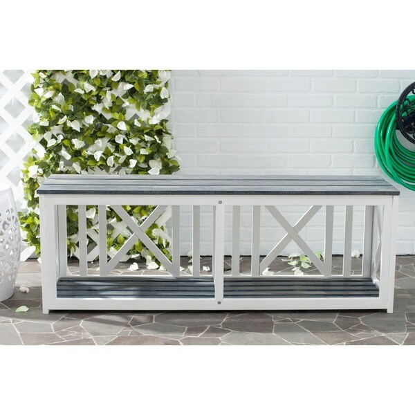 Safavieh Branco White Grey Outdoor Bench Free Shipping Today 15254339