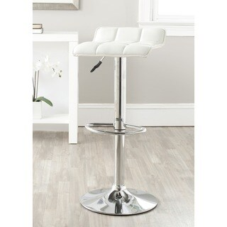 Safavieh Lamita White Adjustable 22.4-31-inch Swivel Bar Stool