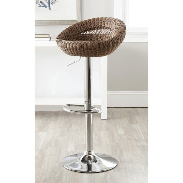 shop safavieh zeba brown adjustable swivel 23 33 inch bar stool on sale free shipping today. Black Bedroom Furniture Sets. Home Design Ideas
