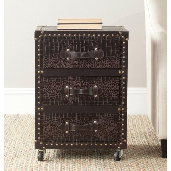 Safavieh Llyoyd Storage Brown 3-Drawer Rolling Chest