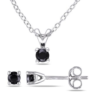 Miadora Sterling Silver Black Diamond 2-piece Jewelry Set