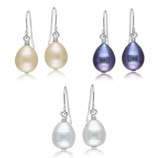 Miadora Silvertone Multi-color Pearl 3-pair Earring Set (9-10 mm)