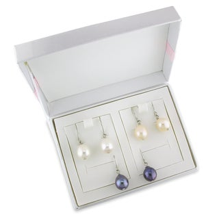 Miadora Silvertone Multicolor Pearl 3-pair Earring Set with Box (9 - 10mm)