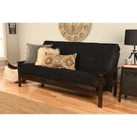 Clay Alder Home DeSoto Espresso Wood Full-size Futon Frame with Suede Innerspring Mattress