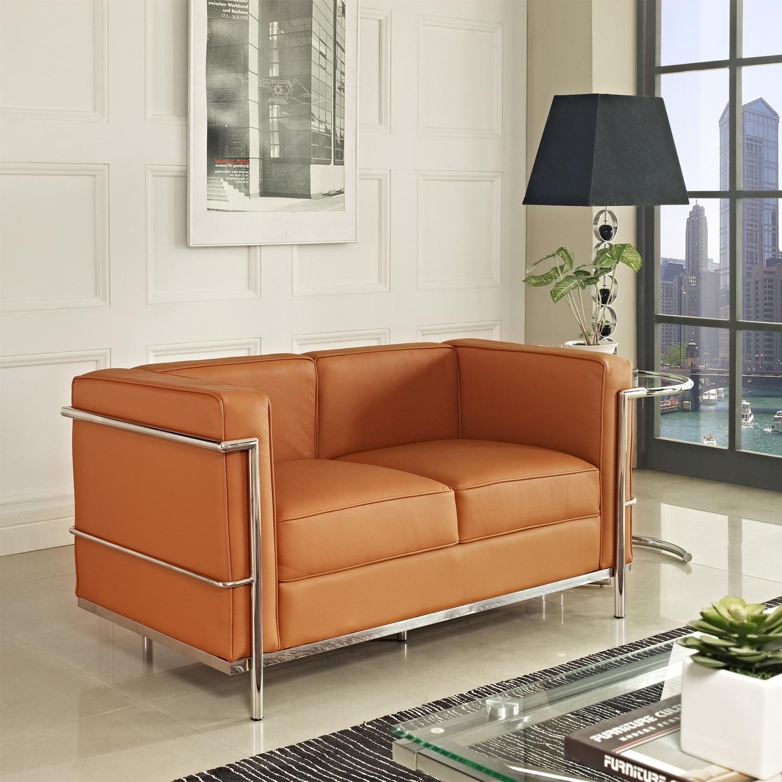 Modway Le Corbusier LC2 Tan Genuine Leather Loveseat (Le ...