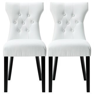 Modway Silhouette Modern White Dining Chairs (Set of 2)