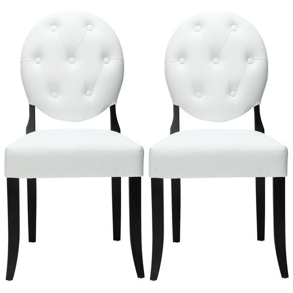 Attirant Modway Button White Vinyl Black Leg Chairs (Set Of 2)