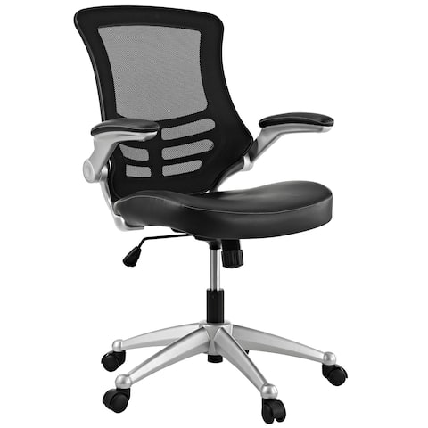 Porch & Den Williamsburg Modway Attainment Black Mesh Back and Leatherette Seat Office Chair