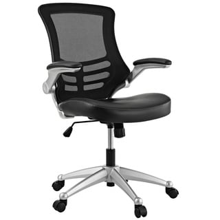 office chair. Clay Alder Home Williamsburg Modway Attainment Black Mesh Back And Leatherette Seat Office Chair
