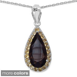 Marcel Drucker Sterling Silver Large Pear Gemstone and Diamond Accent Necklace