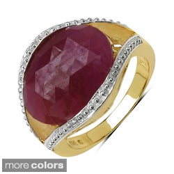 Round Marcel Drucker 14k Gold over Silver Gemstone and Diamond Accent Ring