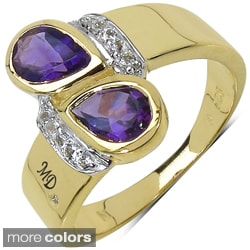 Marcel Drucker Gold over Silver Gemstone and Diamond Accent Ring