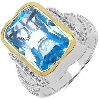 Marcel Drucker Gold over Silver Blue/ White Topaz and Diamond Ring