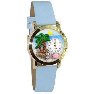 Palm Tree Baby Blue Leather Watch
