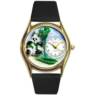 Panda Bear Black Leather Watch