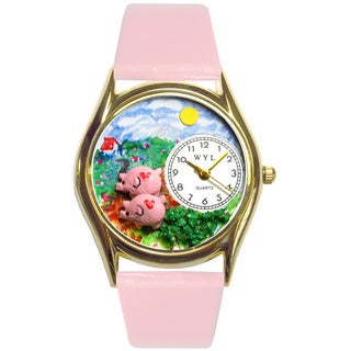 Pigs Pink Leather Watch