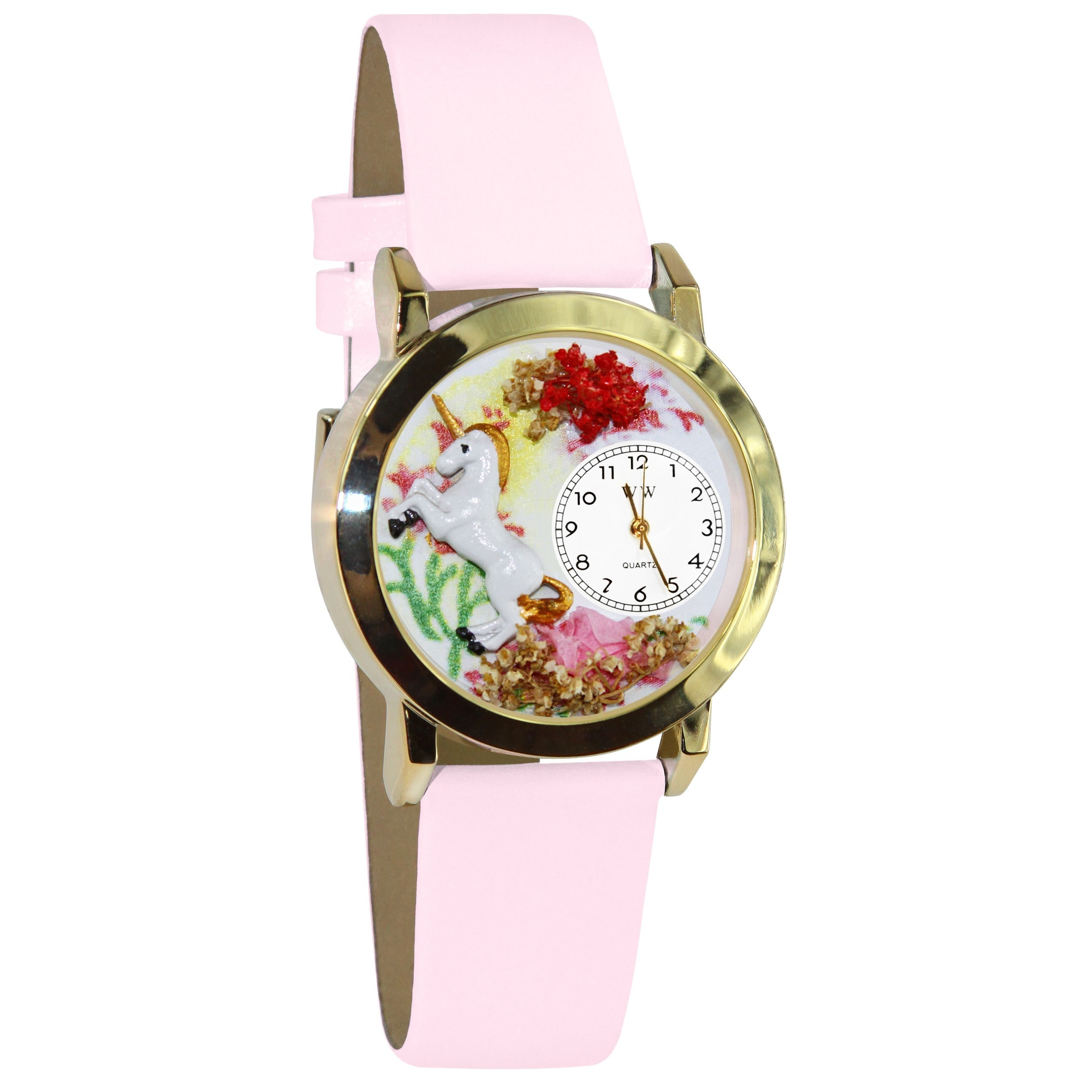 Whimsical Unicorn Pink Leather Watch (Gold), Women's, Whi...
