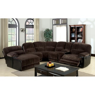 Furniture of America Cyclopean Dark Brown Microfiber Sectional with Reclining Chaise