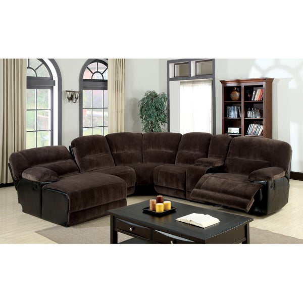 Furniture of america cyclopean dark brown microfiber for Brown sectionals with chaise