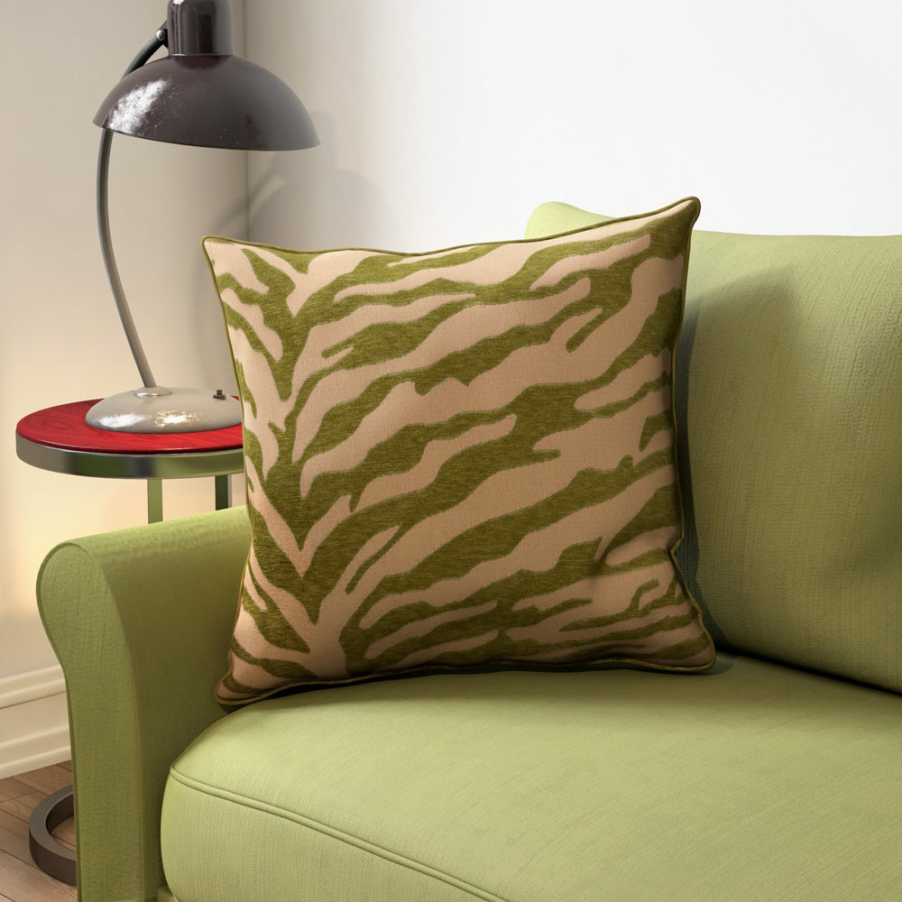 Allston-Brighton Blaine Opal Zebra Patterned Decorative Poly or Down-filled Pillow - Thumbnail 0