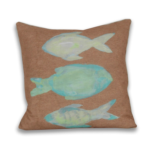 Water Color 3-fish 18 x 18-inch Decorative Down Filled Pillow