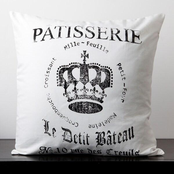 Ella White French Novelty 18-inch Decorative Pillow