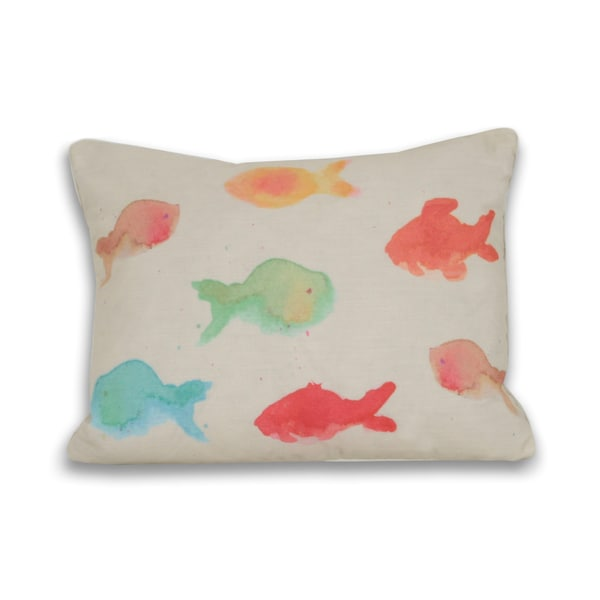 Water Color Fish 16 X 20 Down Filled Pillow