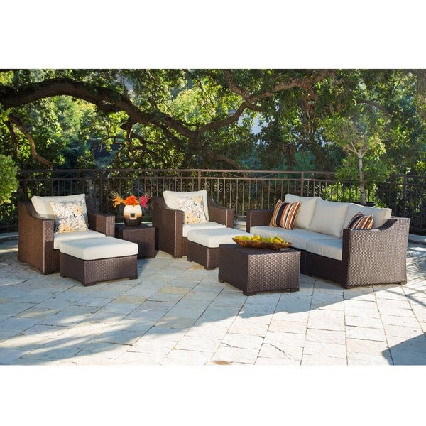Corvus Matura Outdoor 9-piece Brown Wicker Sofa Set with Beige Cushions
