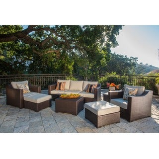 Corvus Matura 9-piece Brown Wicker Patio Furniture with Beige Cushions