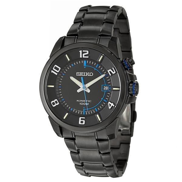 Seiko Men's 'Kinetic' Black Stainless Steel Watch