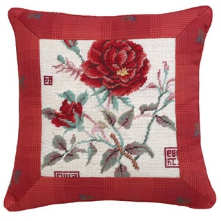 Rose Needlepoint 16-inch Throw Pillow