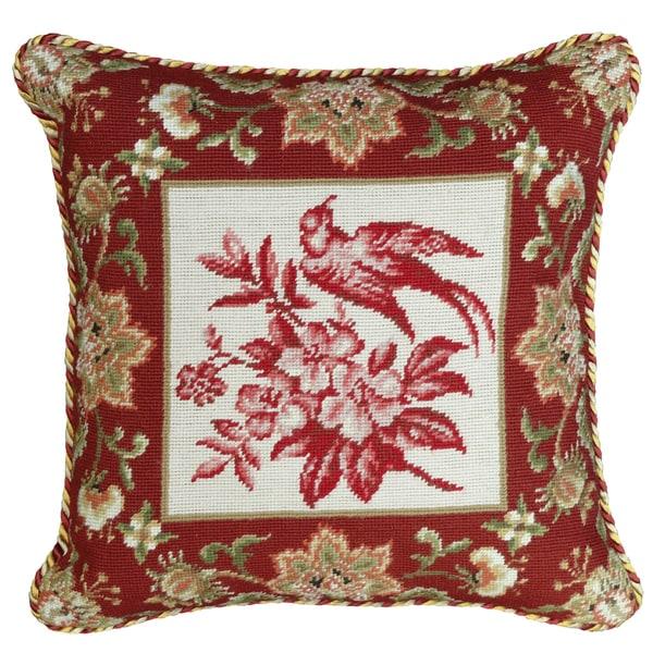 Bird-Red Needlepoint 18-inch Decorative Pillow