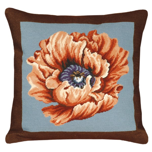 Poppy-Brown & Blue Needlepoint 20-inch Decorative Pillow