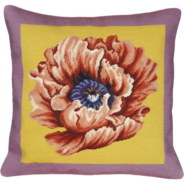 Lilac and Yellow Poppy Needlepoint Decorative Pillow