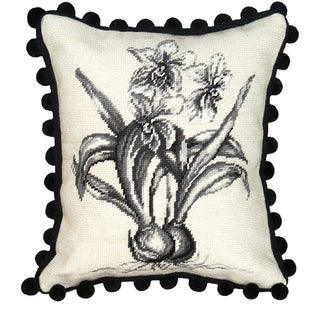 Orchid Needlepoint Decorative Pillow